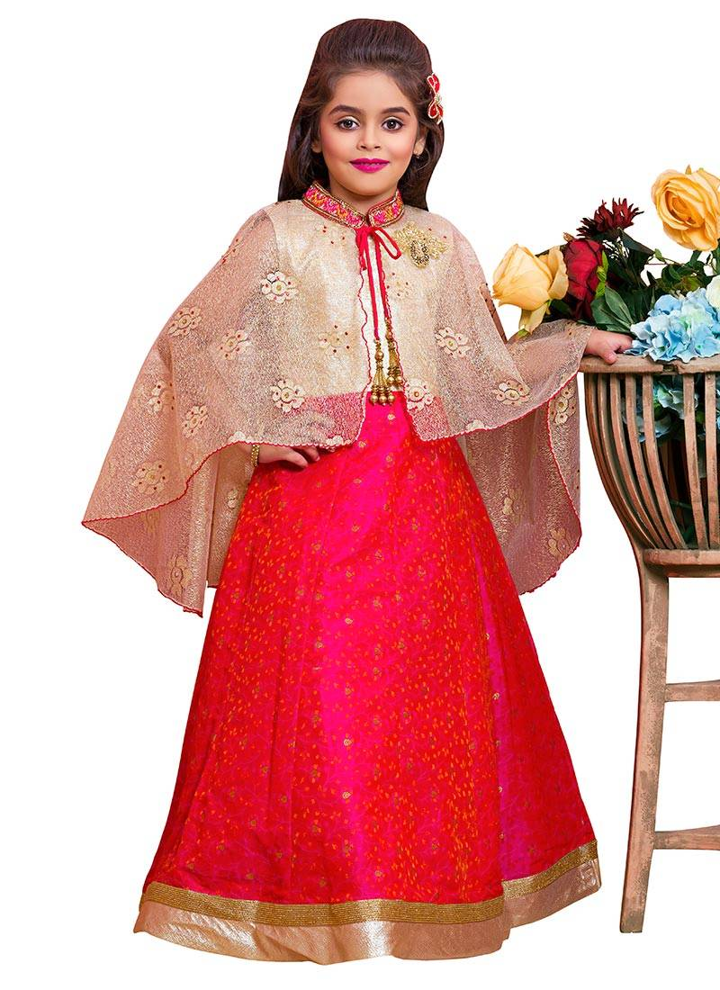 stylish red lehenga with cape for kids