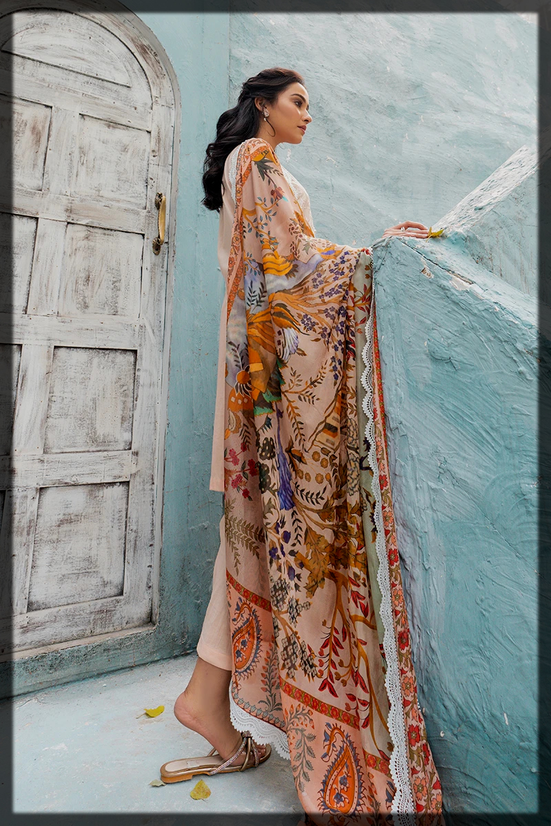 summer lawn suit with chiffon dupatta