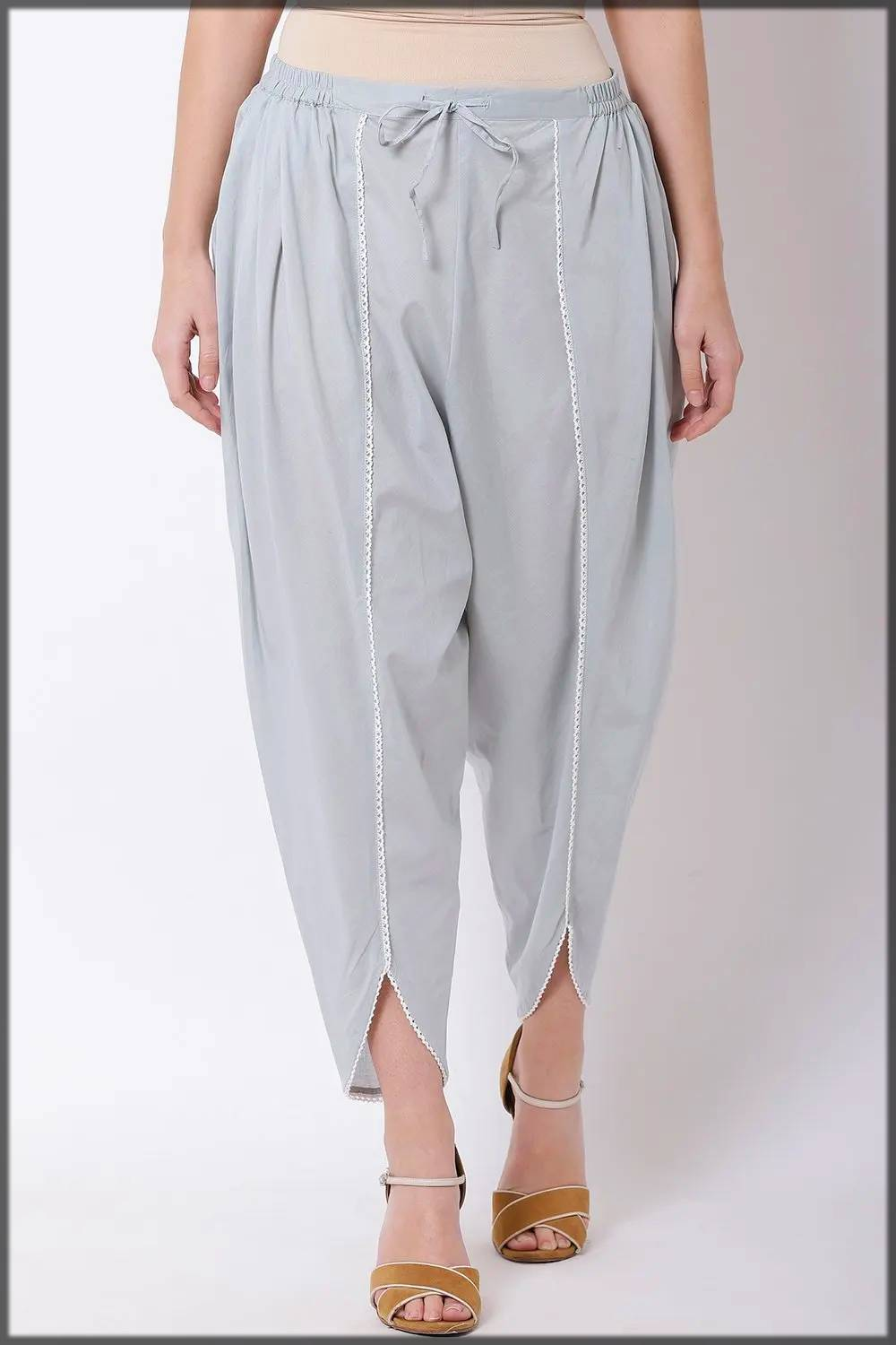 tulip pants with lace on edges