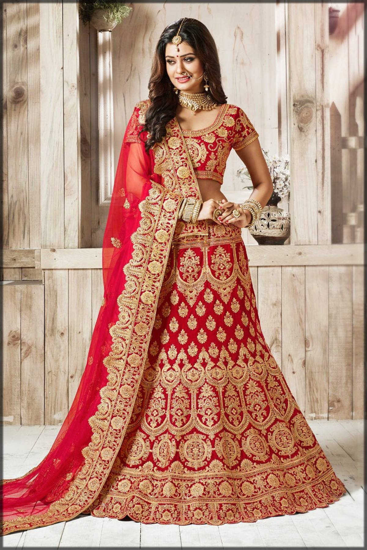 velvet lehenga choli in red and golden color