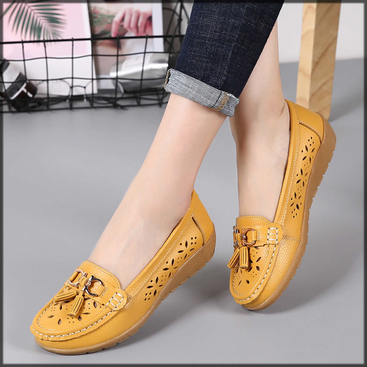 yellow loafers for women