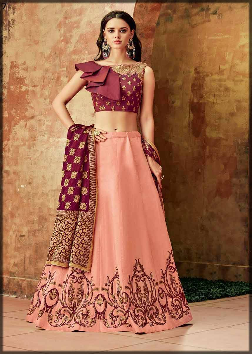zari embroidery silk lehenga with stylish choli