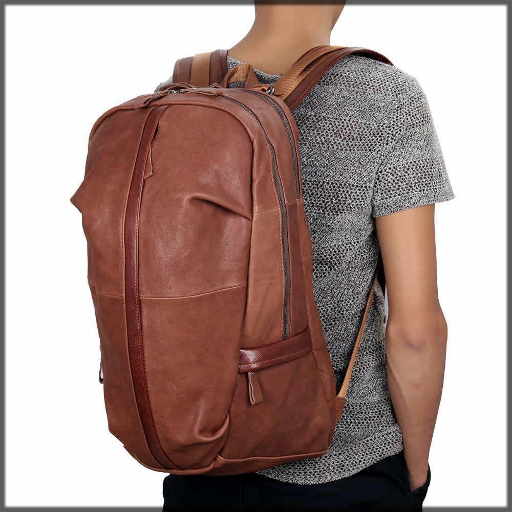 Brown leather bagpack
