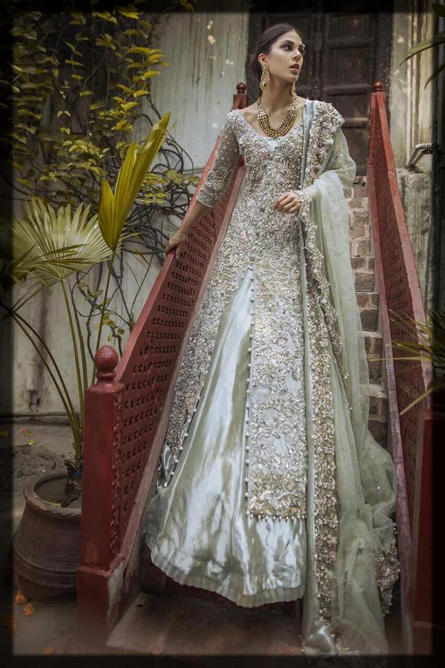 Grey Tissue Gown, Dupatta & Sharara