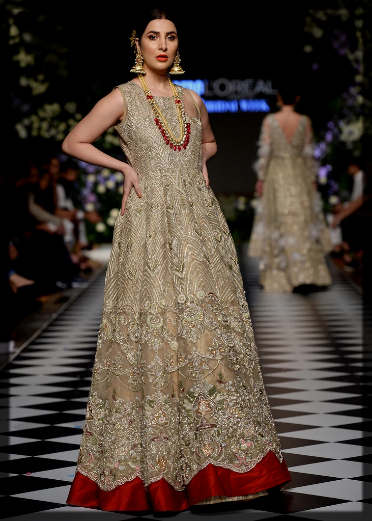 Impressive Gold Bride Gown with Red Patch