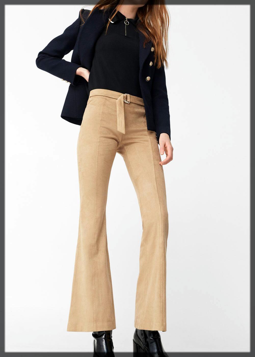 Khaki Flare Pant For Women