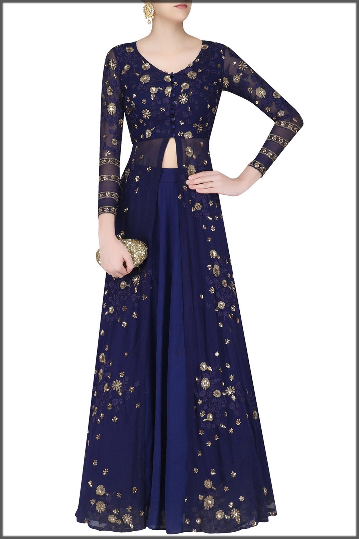 alluring blue anarkali gown