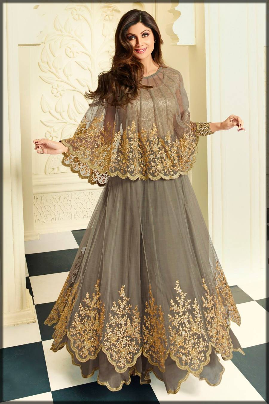 amazing anarkali frock with cape
