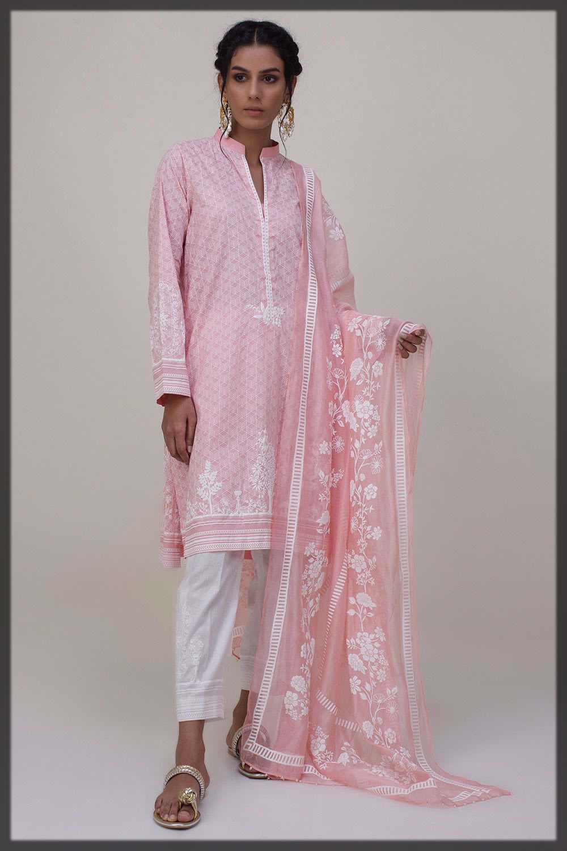 beautiful pink designer lawn dress