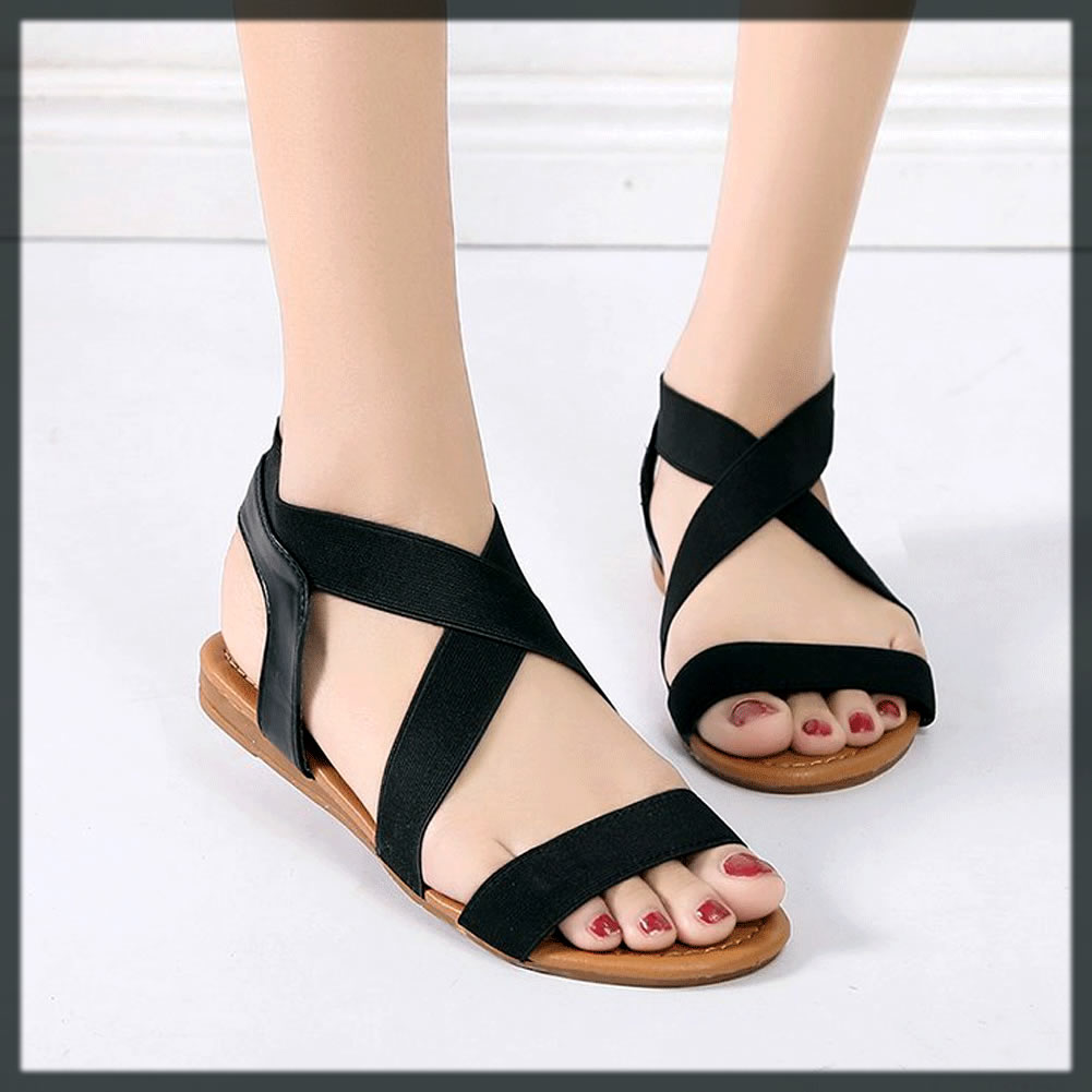 black Elastic Flat Sandals