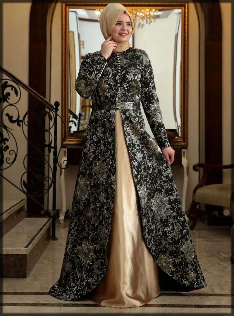 black and golden open gown