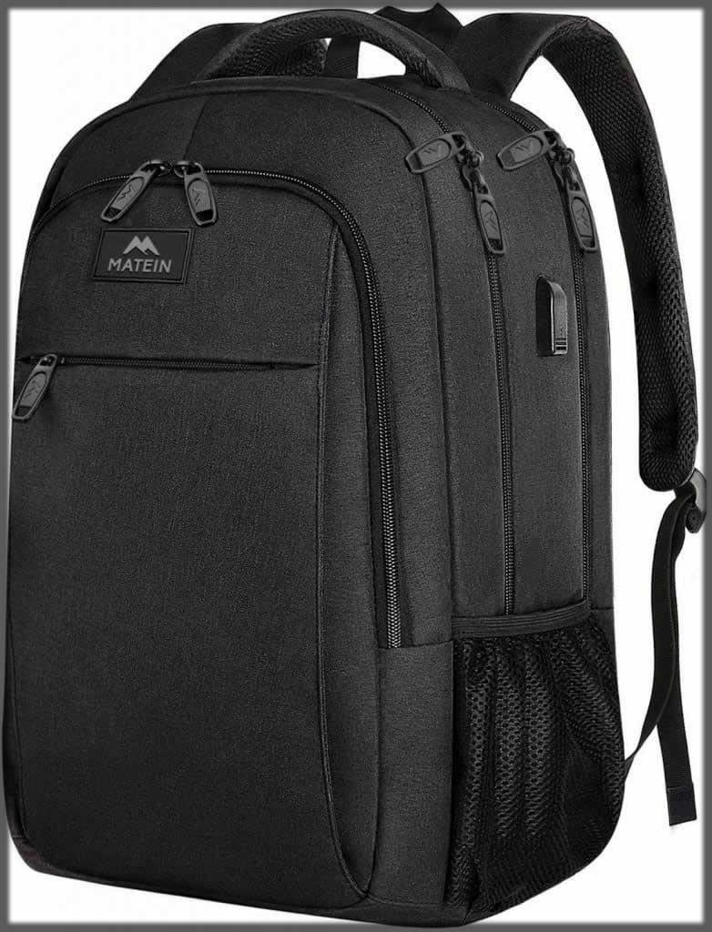 black travel bagpack