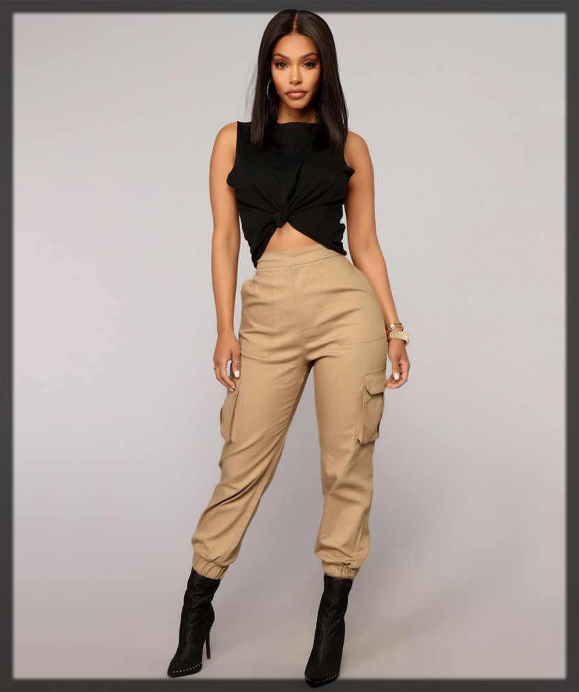 chic Cargo Khaki Pants For Women