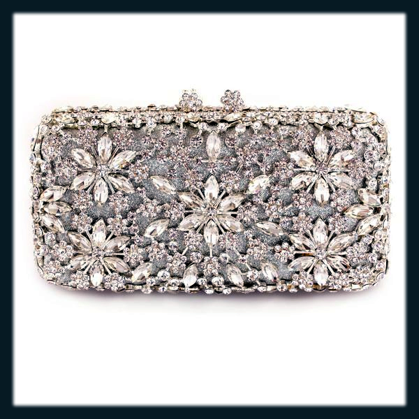 classy silver bridal clutches