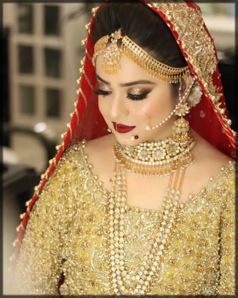 golden bridal matha patti