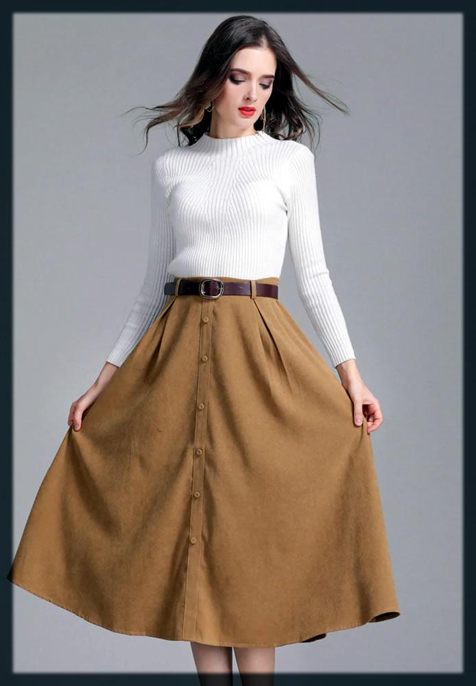 latest Khaki Skirt For Women