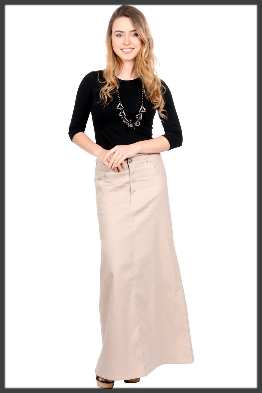 modest khaki skirt for women