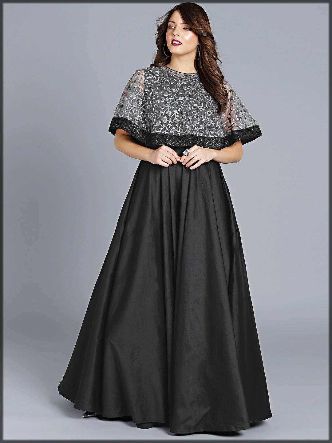 partywear long frock with exclusive net embroidery on cape