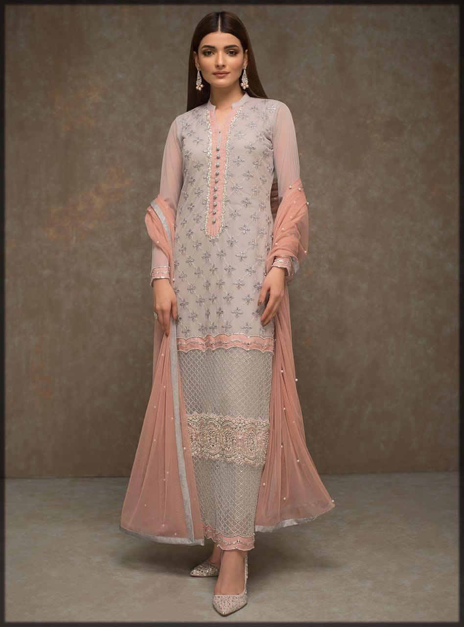 pink and grey chiffon dress