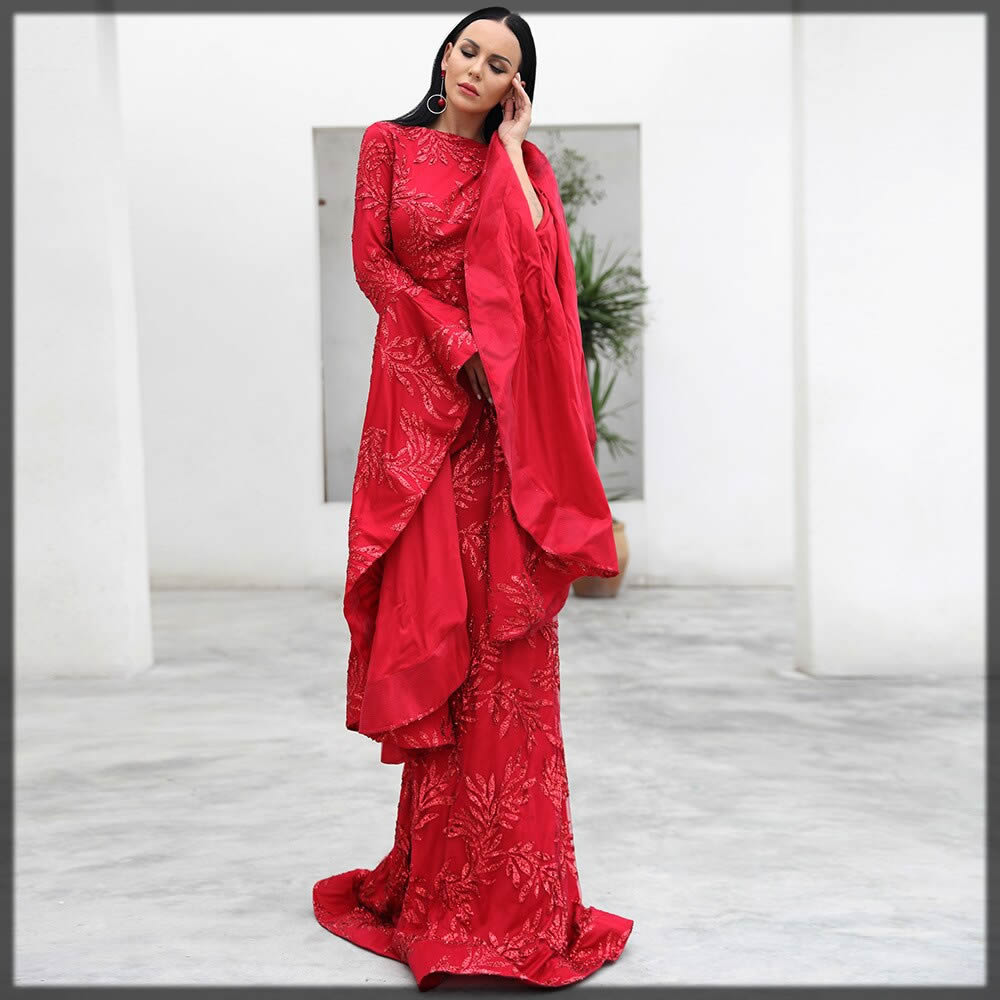 red long attire for brides