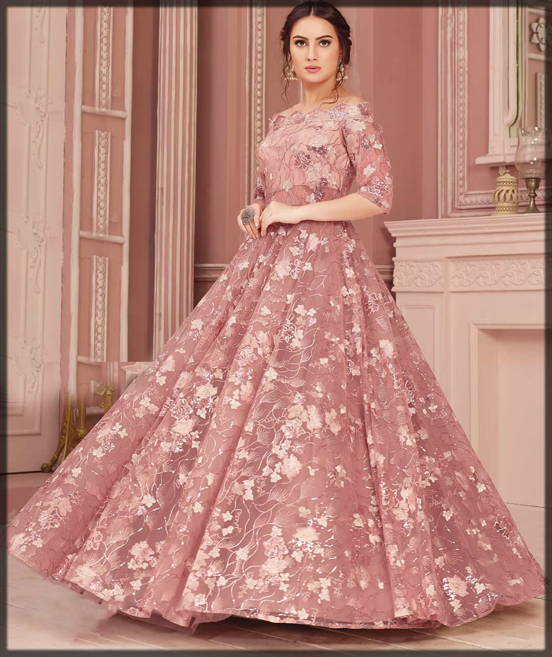 rose pink ball gown