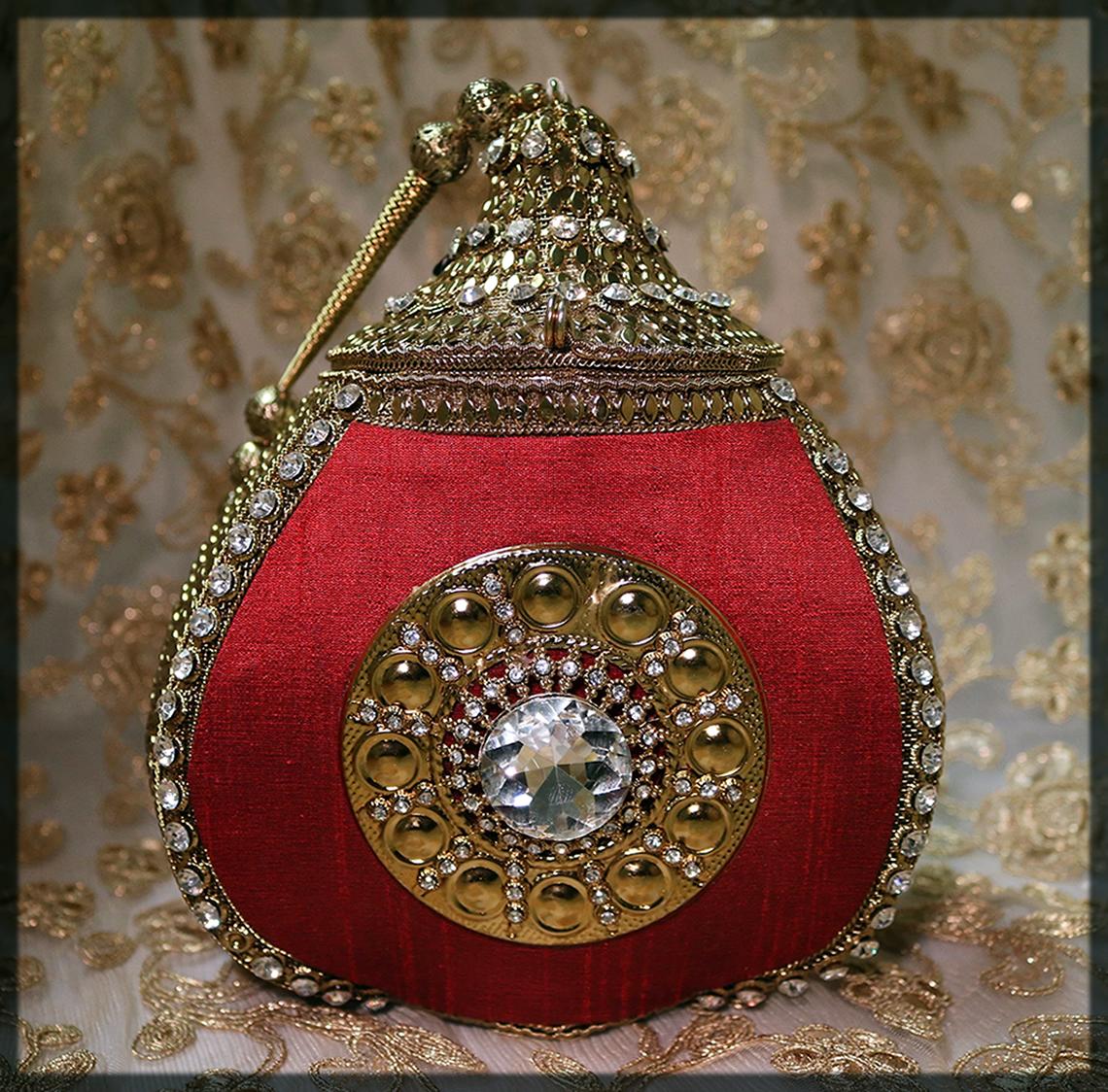 striking maroon bag for bride