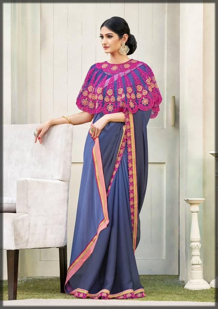 stunning saree with cape