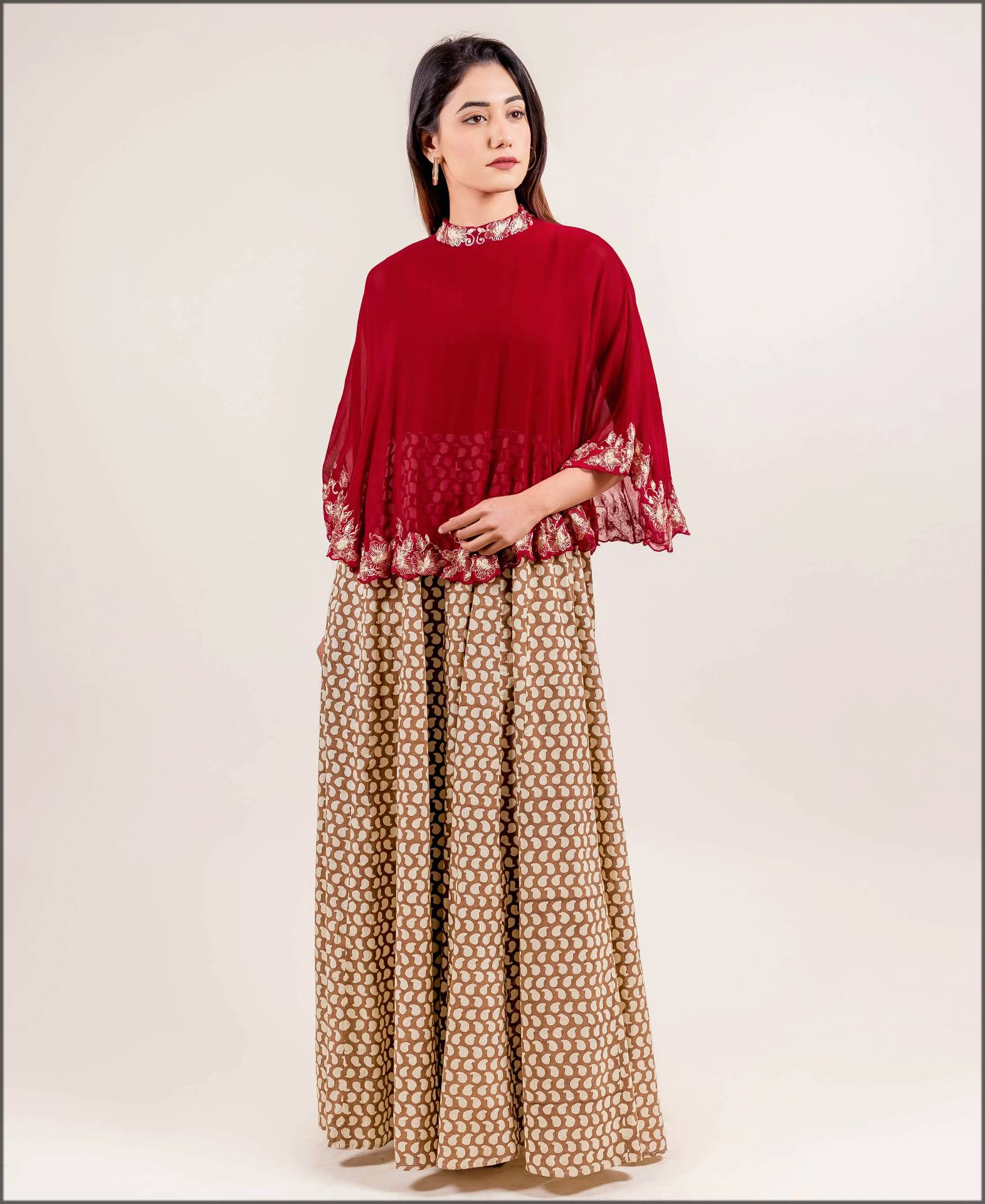 western style dress with cape