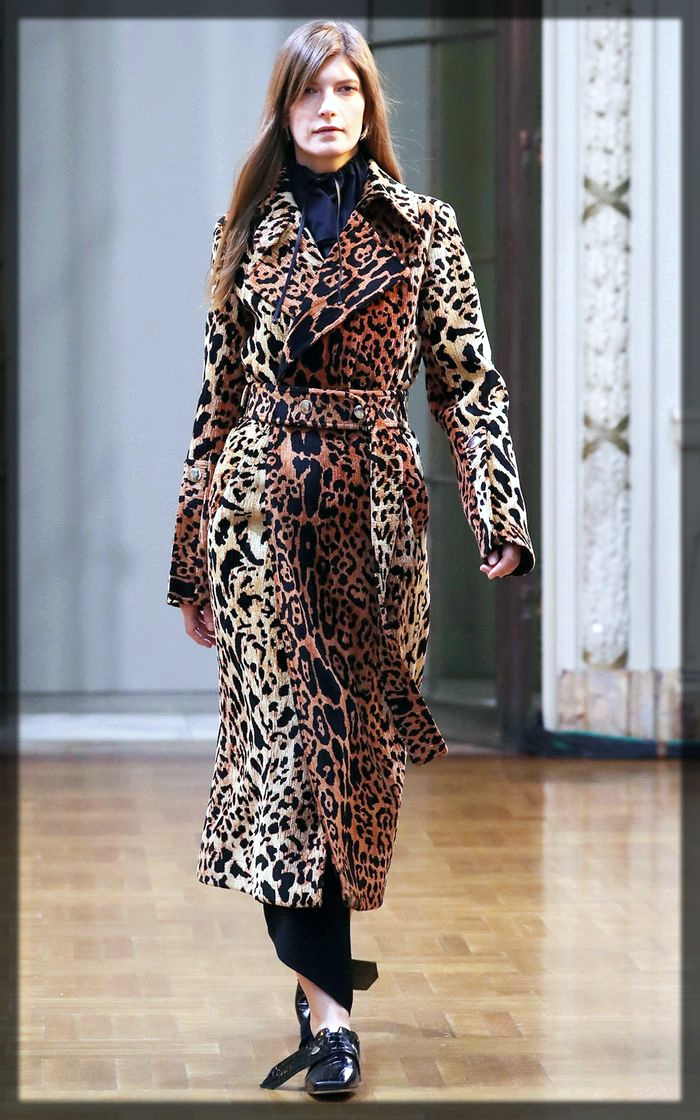 Animal printed Winter Trench Coats For Women