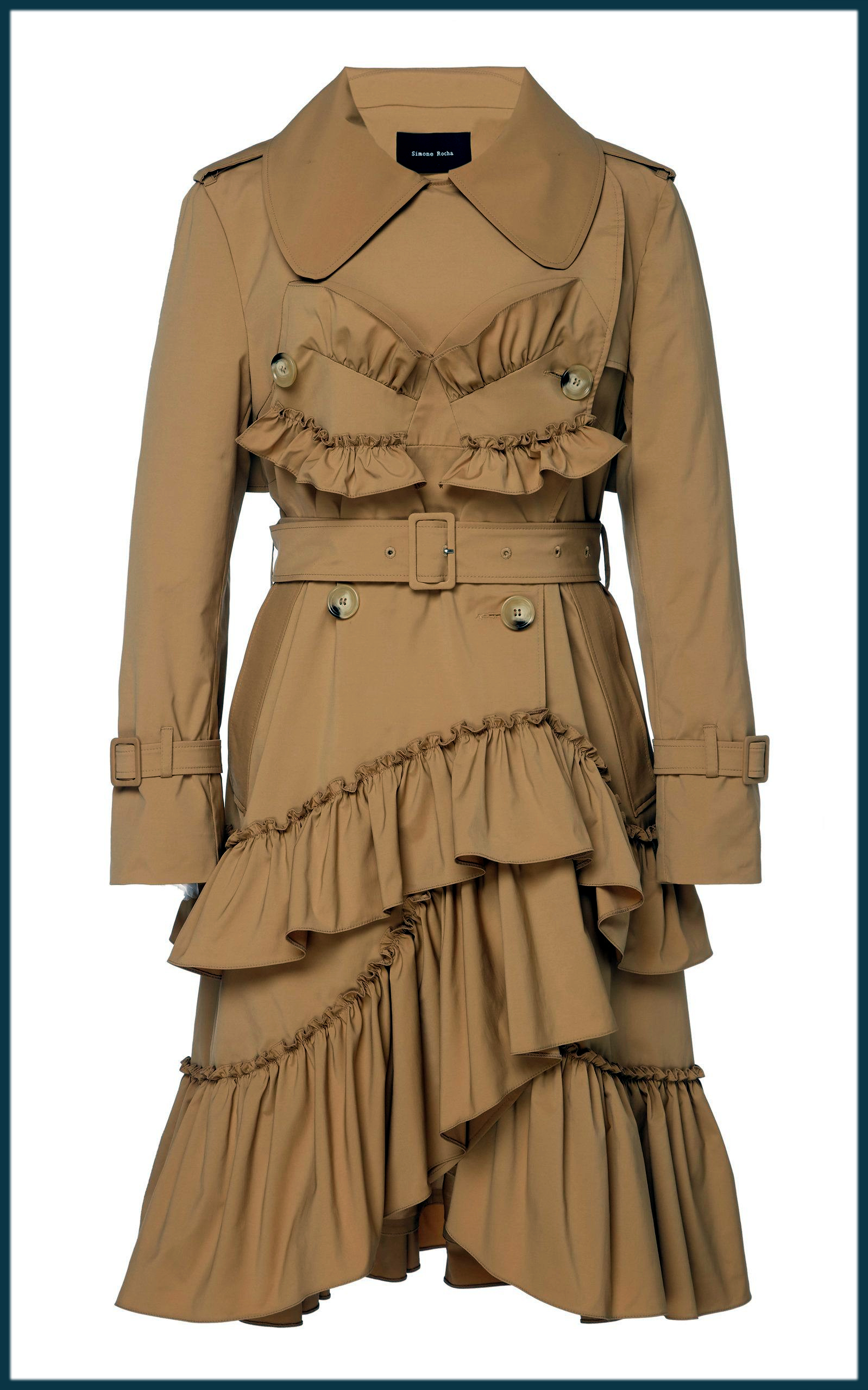 Frilled Winter Trench Coats For Women