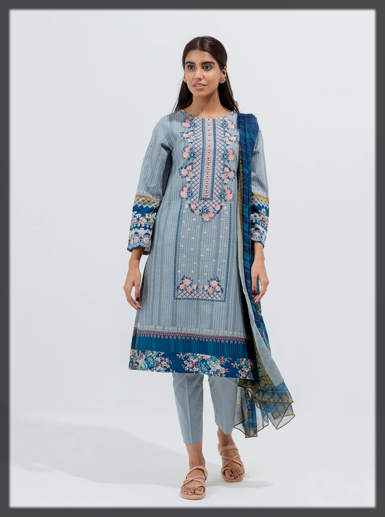 Grey Pearl-Embroidered-3P suit