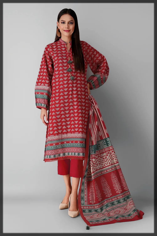 appealing red 3pc khaddar suit