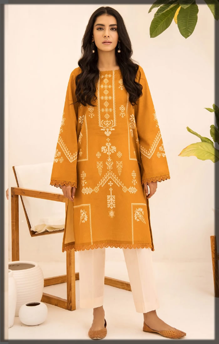 beautiful yellow printed khaddar shirtbeautiful yellow printed khaddar shirt