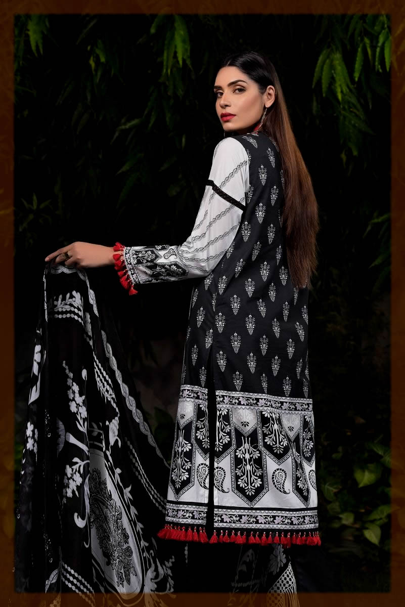 black and white cotton satin suit for women