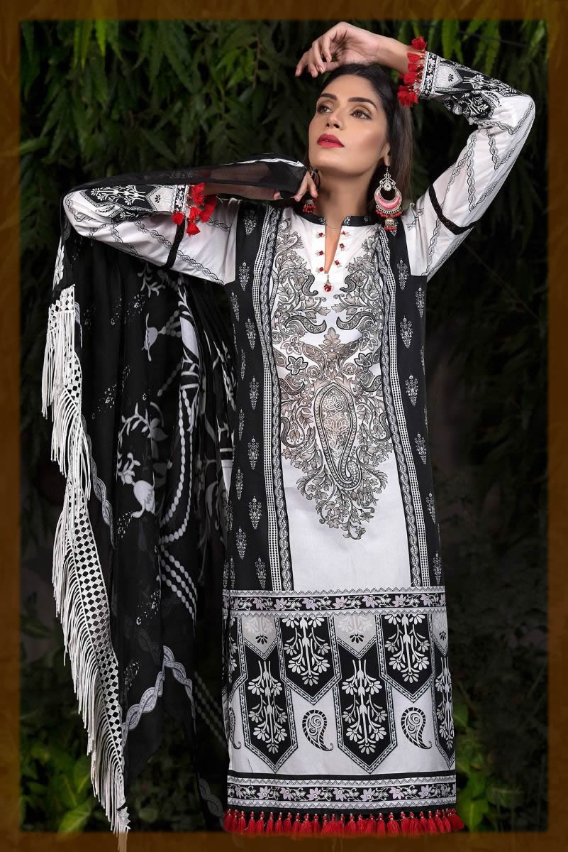 black and white cotton satin suit