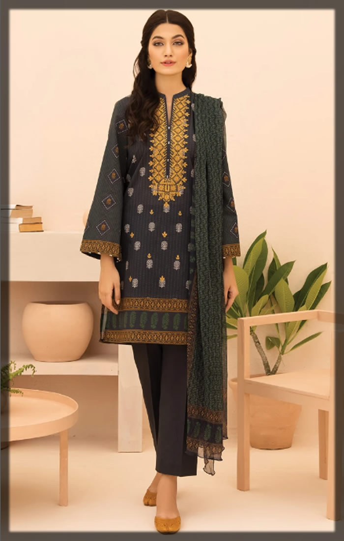 black embroidered cambric suit