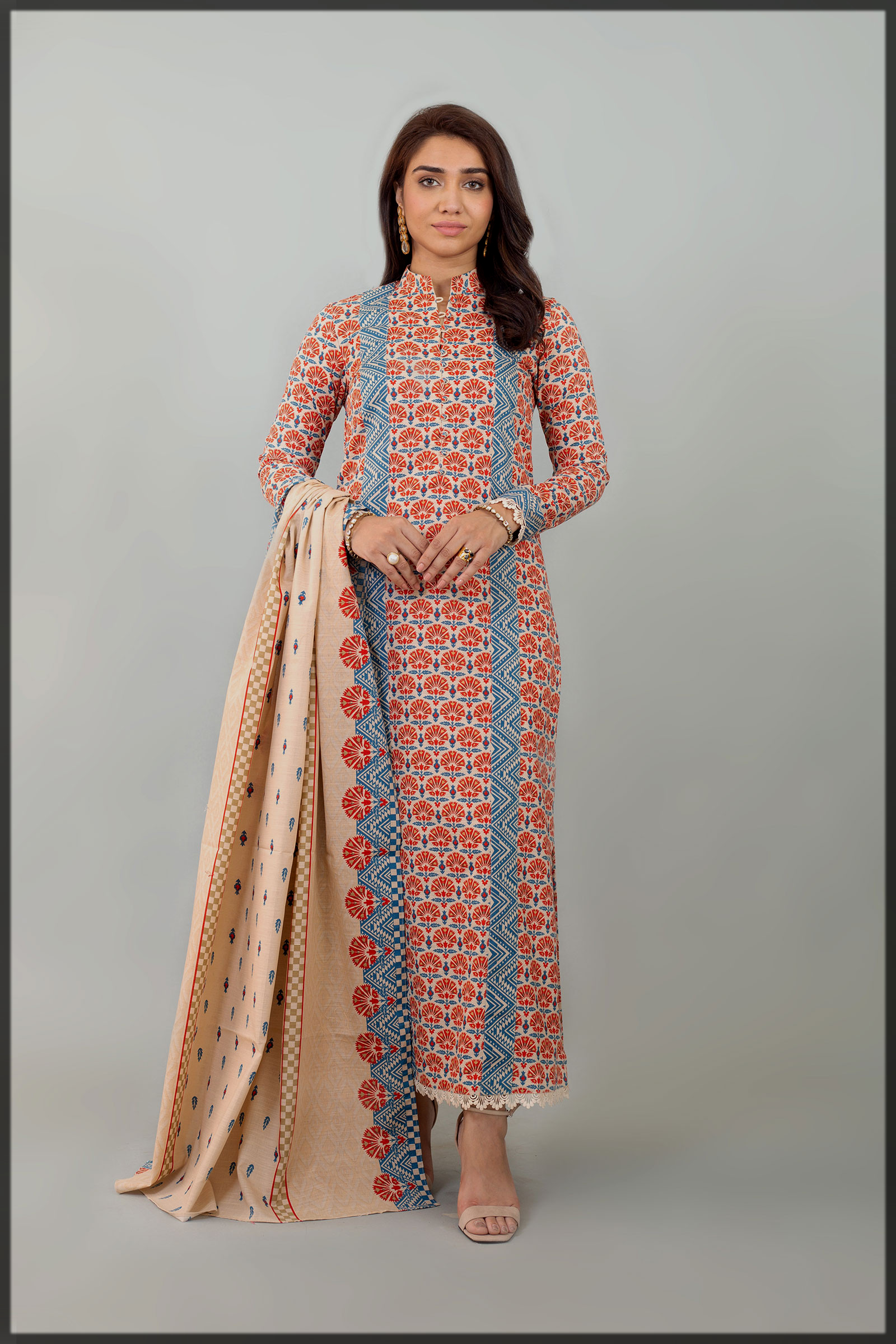 blue and maroon khaddar suit
