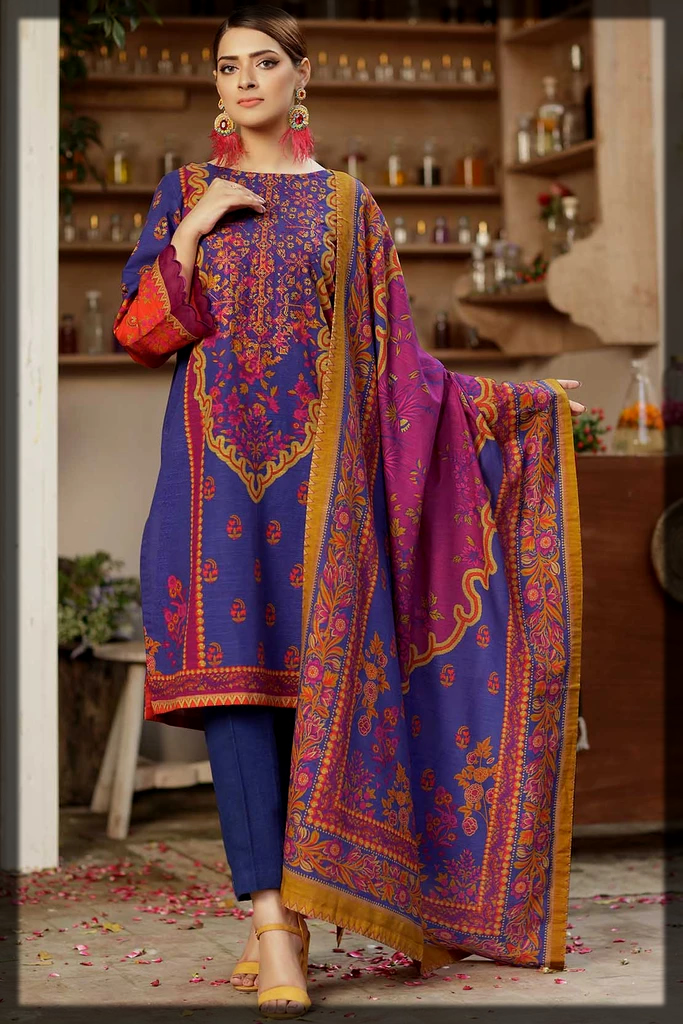 blue and pink warda winter collection