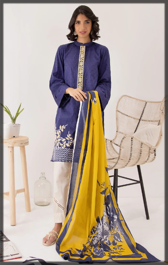 blue and yellow pret suit