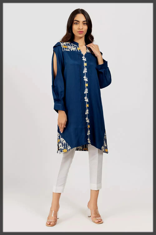 blue khaddar shirt with trouser