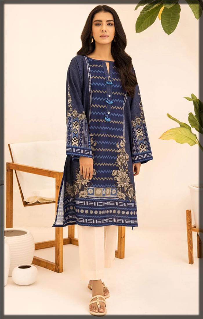 blue printed khaddar shirt