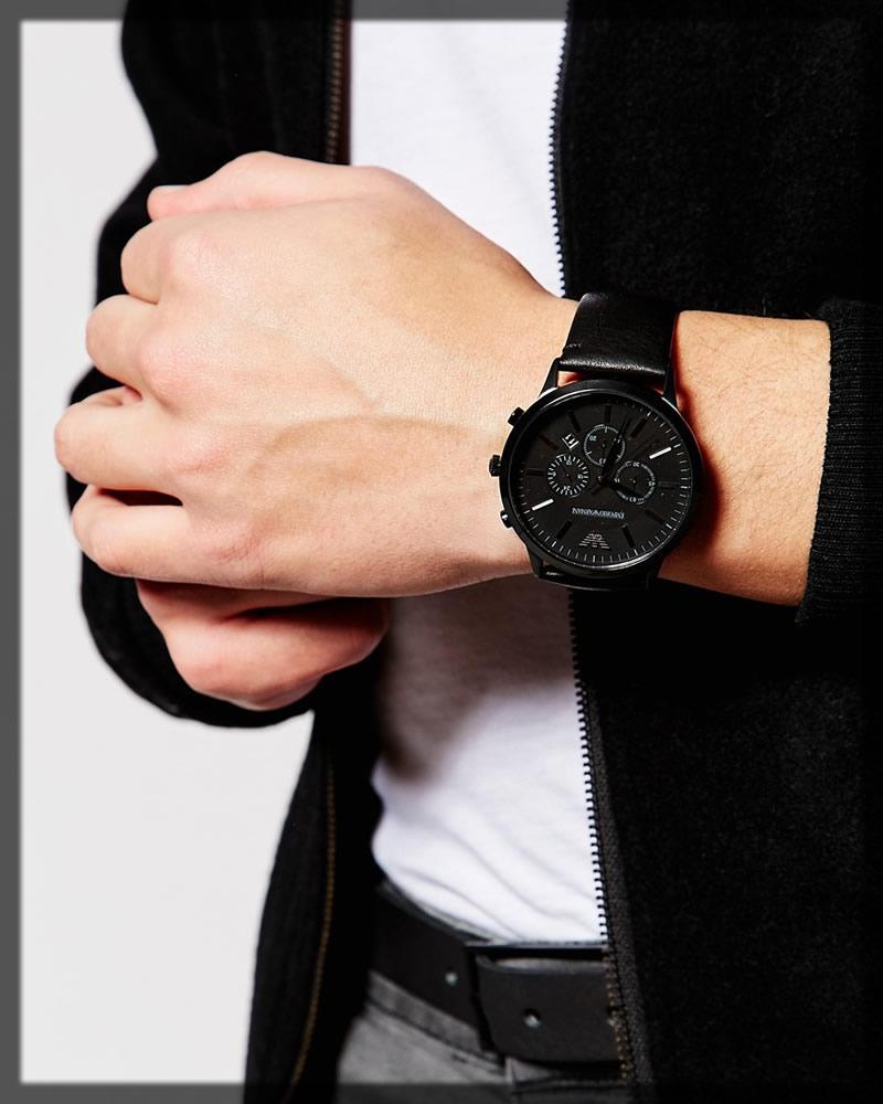 classic black armani watch