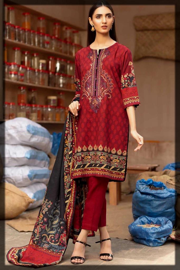 classy maroon karandi dress