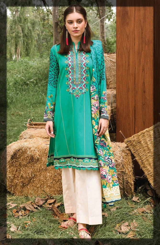 embroidered sea green cottel suit