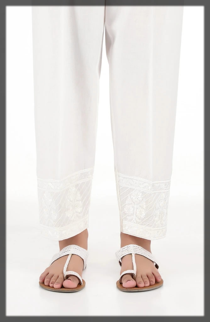 embroidered white straight pant