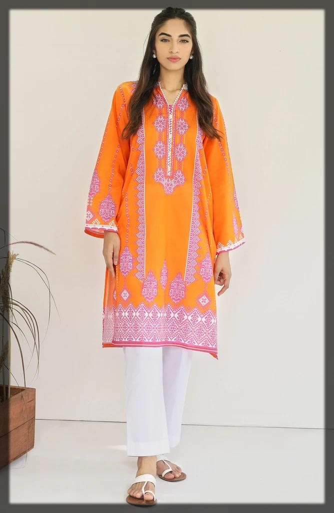 glaring orange cambric shirt