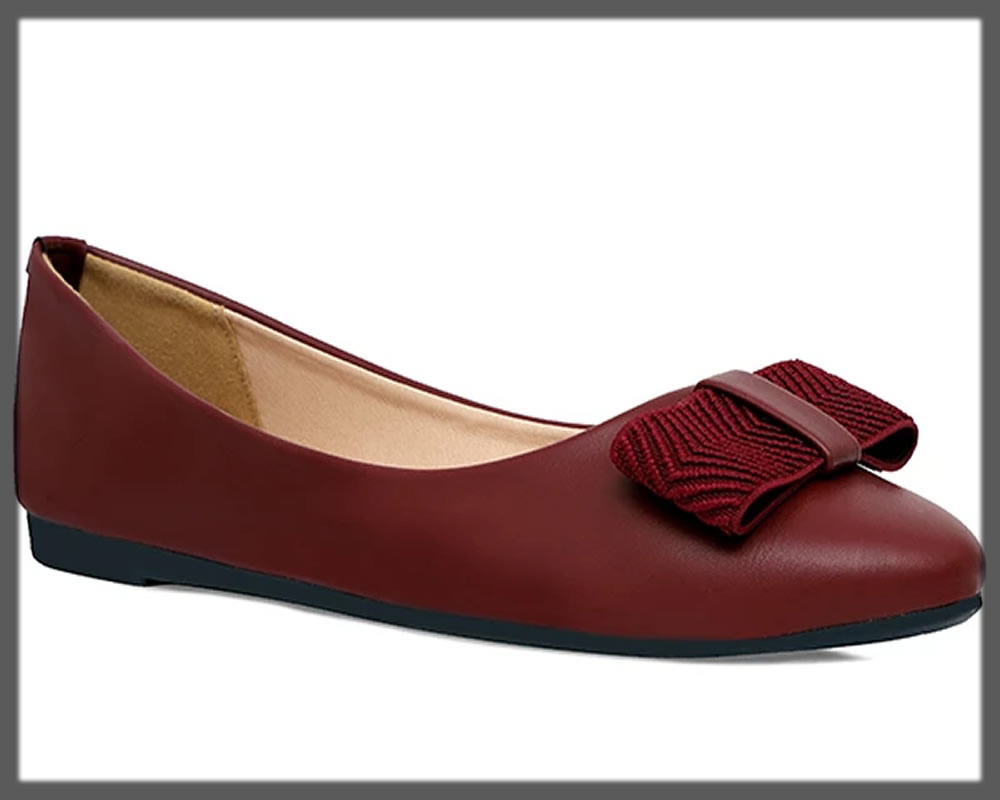 graceful maroon bow shoes