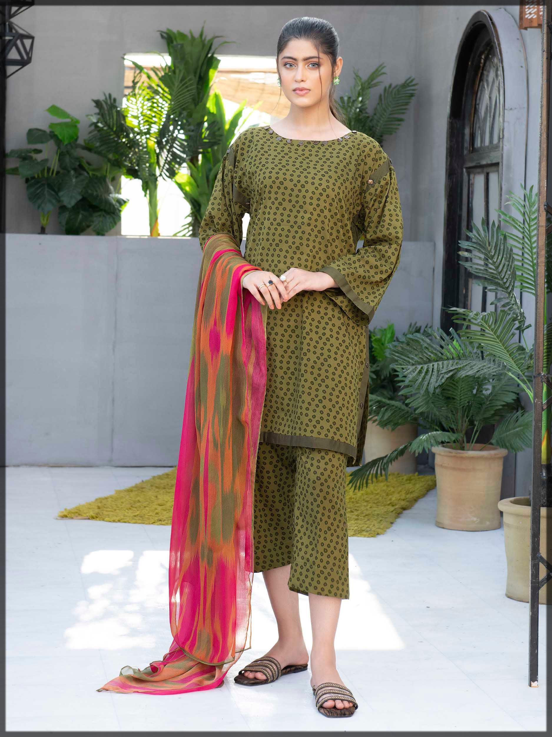 green cambric three-piece suit