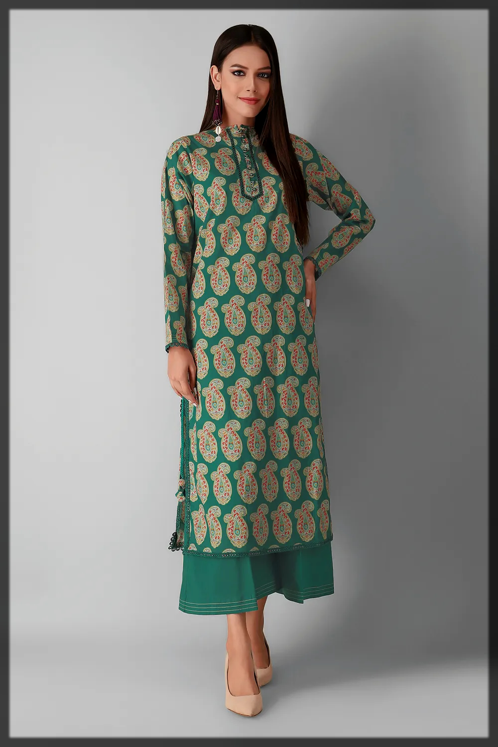 green shaded cambric dress for women