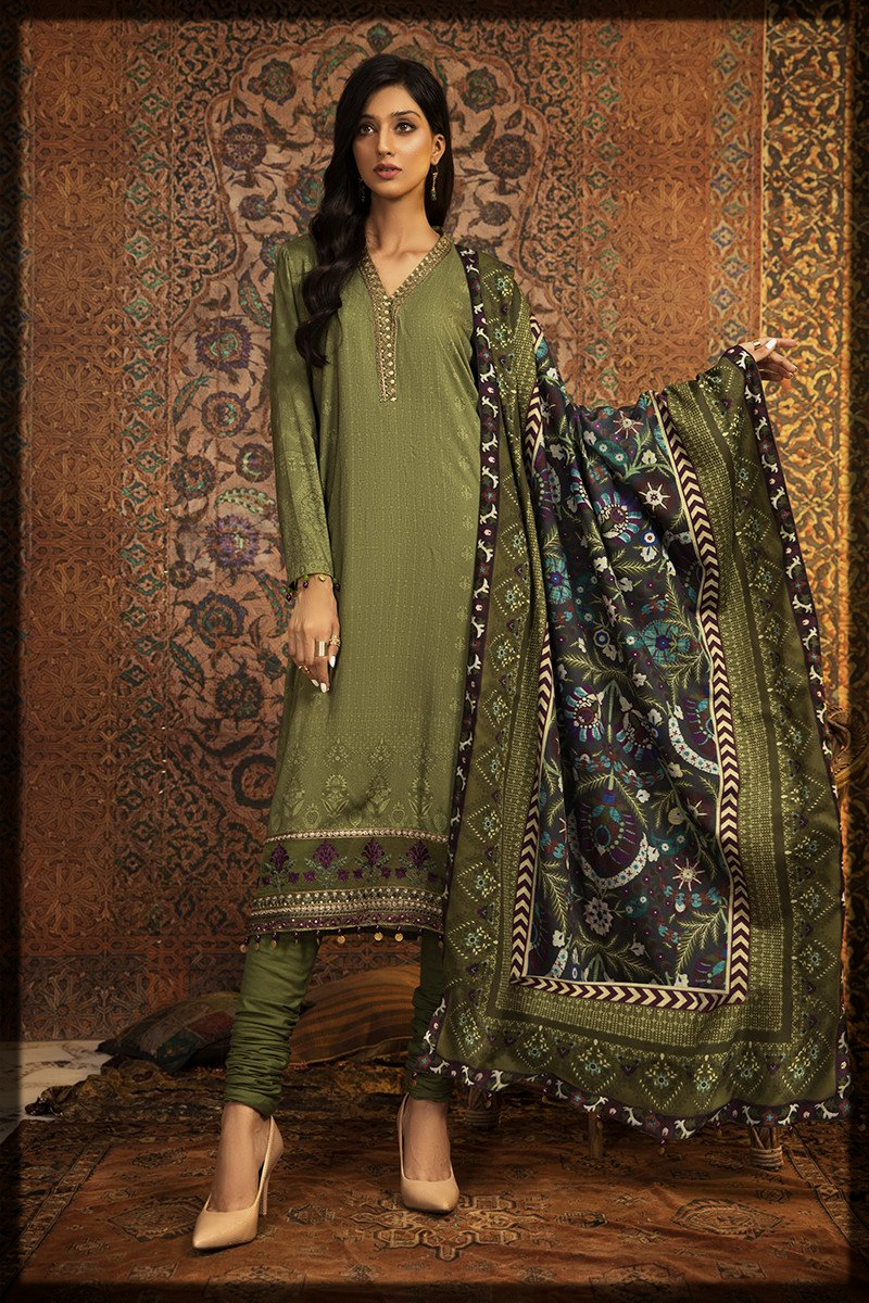 green shaded winter attires